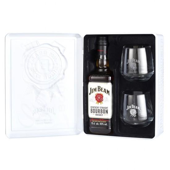 Jim Beam White 0,7l - Darilno pakiranje kovinska škatla 2 kozarca-Žgane pijače
